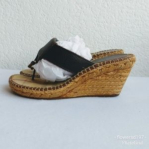 Burberry Wedge Thong Espadrilles Sandals Size 8
